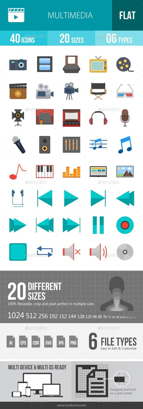 Multimedia Flat Multicolor Icons - Icons