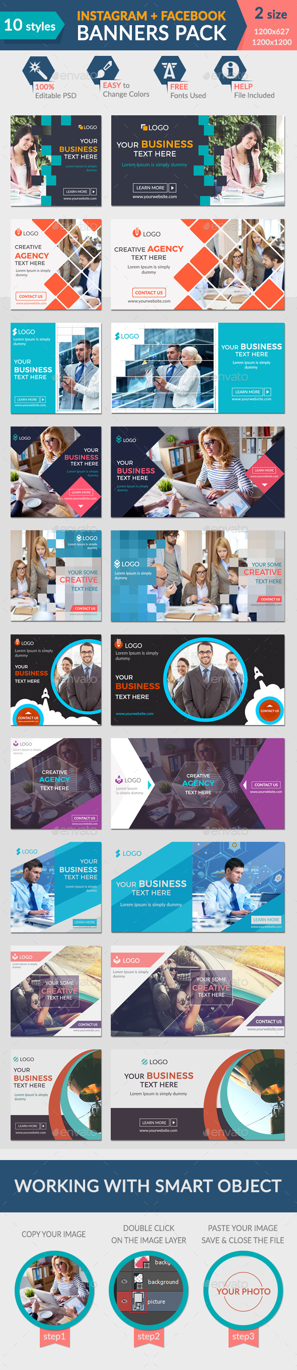 Facebook + Instagram Banners Pack-1 - Banners & Ads Web Elements