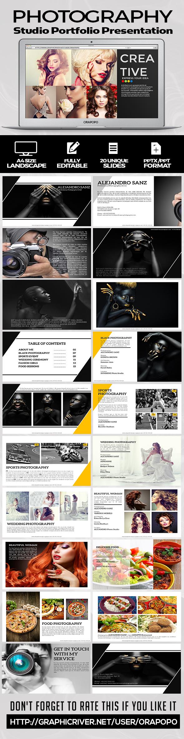 Photography Studio Portfolio Presentation - Creative PowerPoint Templates
