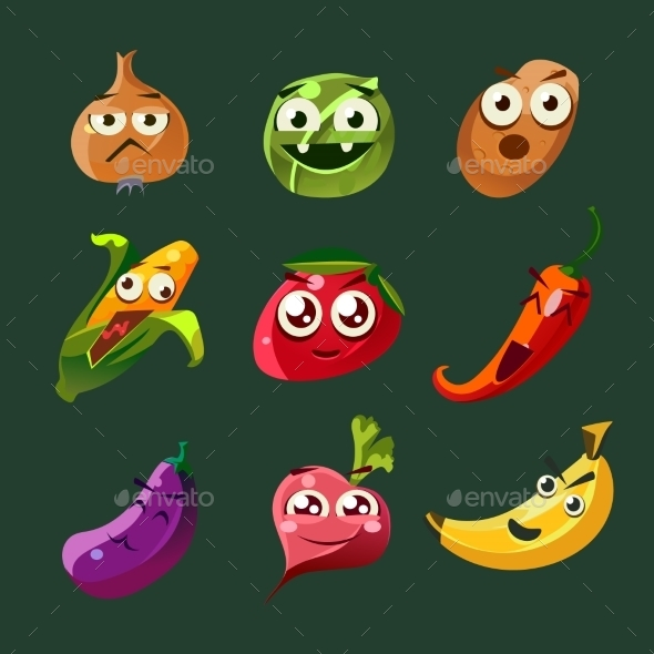 Funny Vegetable And Spice Cartoon, Vector - Food Objects
