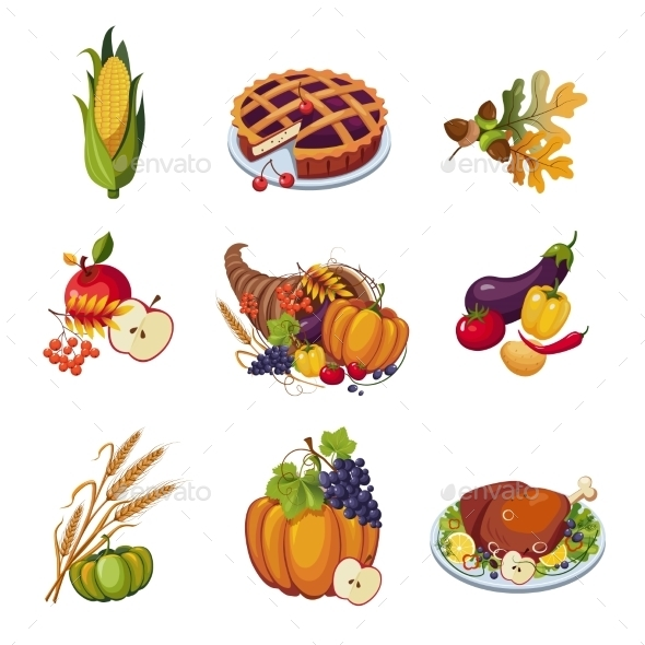 Thanksgiving Elements - Food Objects