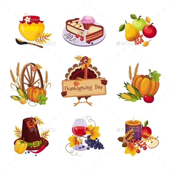 Thanksgiving Decorative Elements - Food Objects