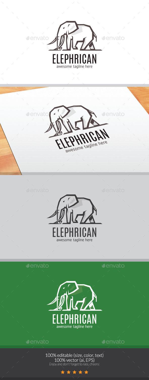 The Elephrican Logo Mascot - Animals Logo Templates