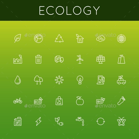 Vector Ecology Line Icons - Industries Business