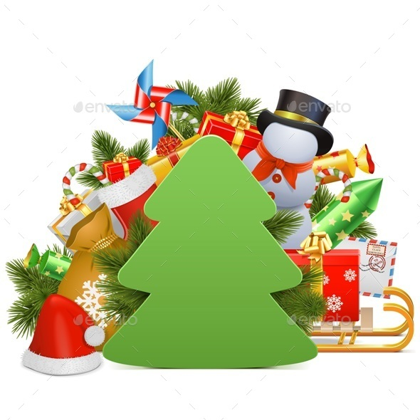 Vector Christmas Concept with Paper Tree - Christmas Seasons/Holidays