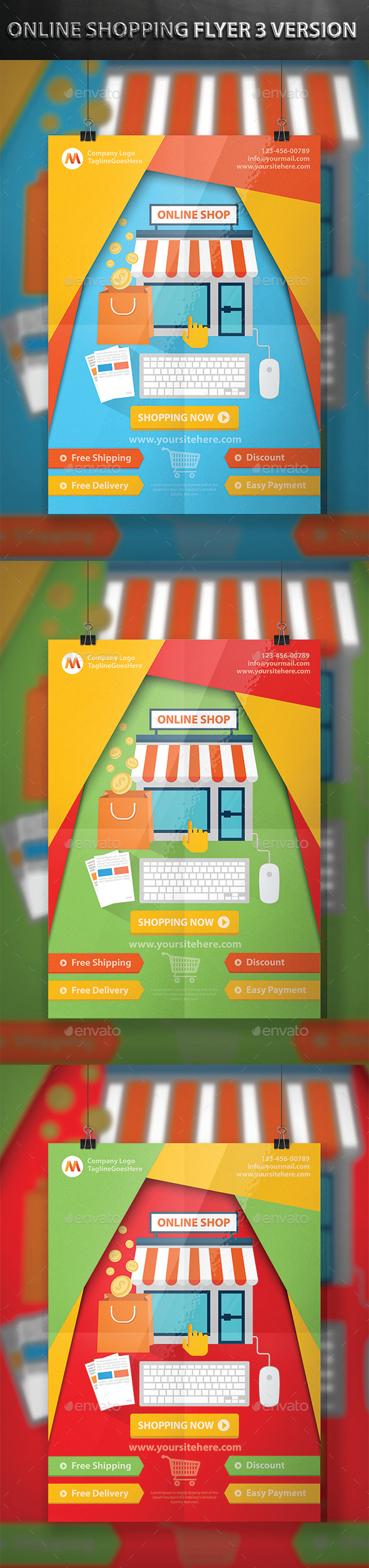 Online Shopping Flyer 3 Version - Flyers Print Templates