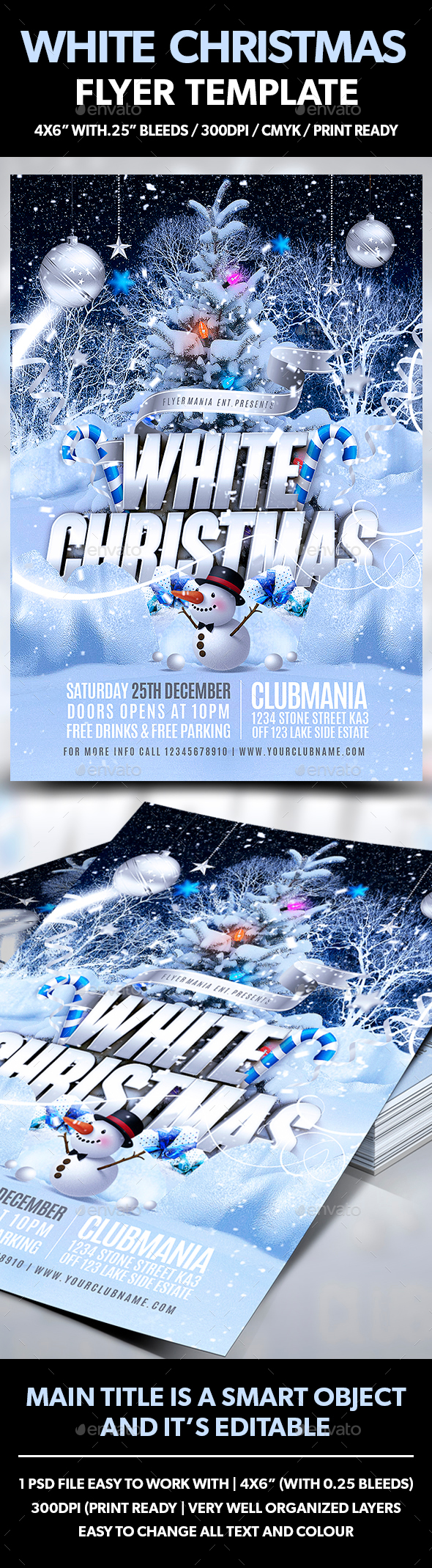 White Christmas Flyer Template - Flyers Print Templates
