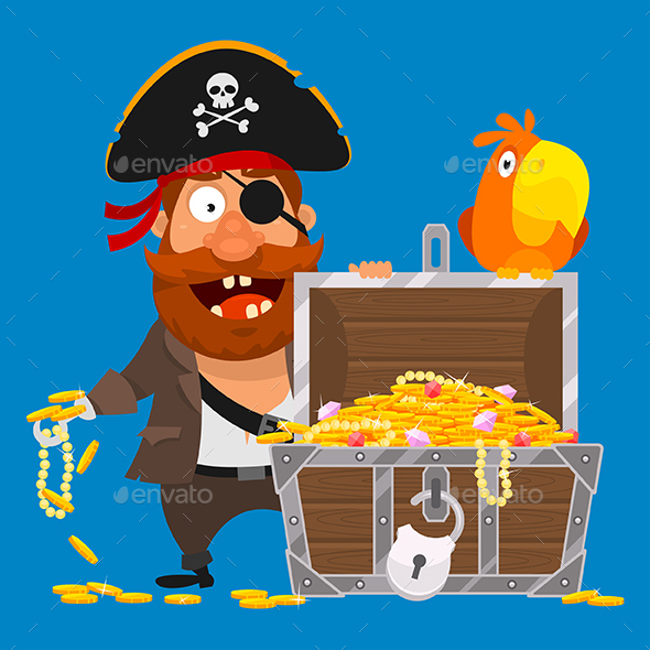 Pirate with Parrot and Chest of Gold - People Characters