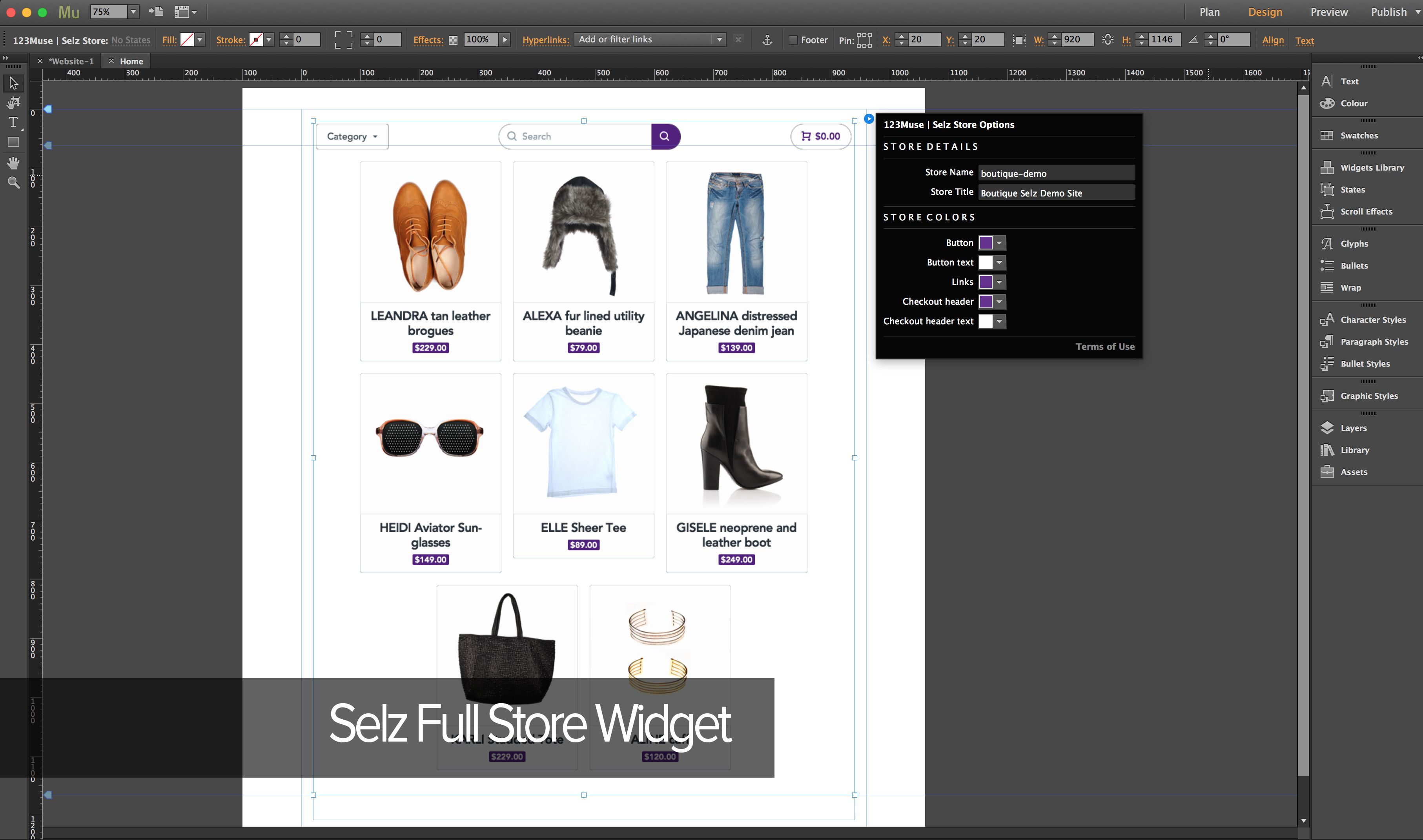 Adobe Muse Selz Widget Package by 123Muse | CodeCanyon