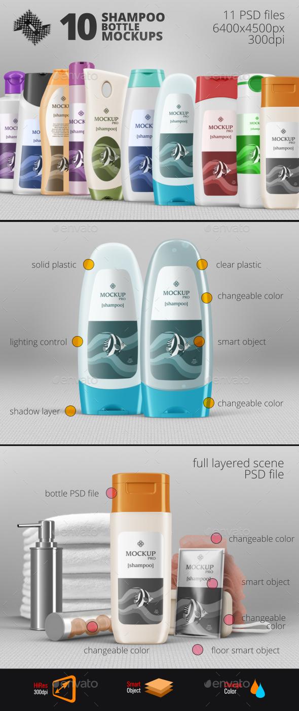 10 Shampoo Bottle Mockups - Packaging Product Mock-Ups