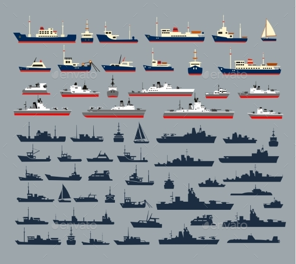 Silhouettes of Ships - Travel Conceptual