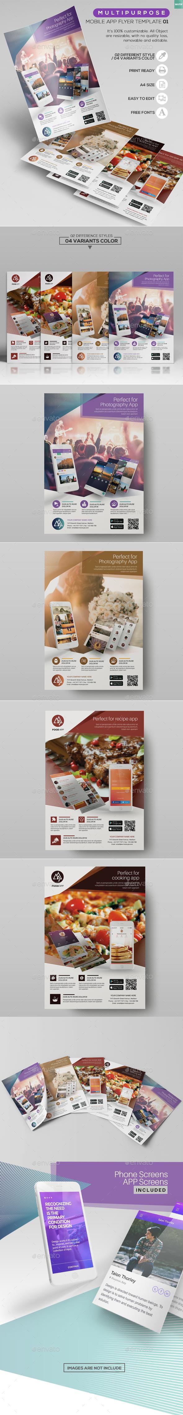 Multipurpose/ Mobile App Flyer Template01 - Commerce Flyers