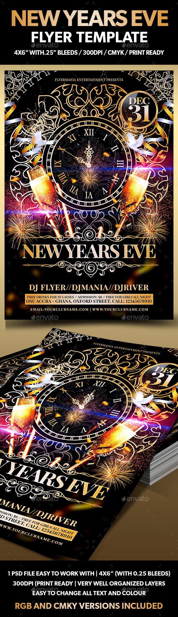New Years Eve Flyer Template - Holidays Events
