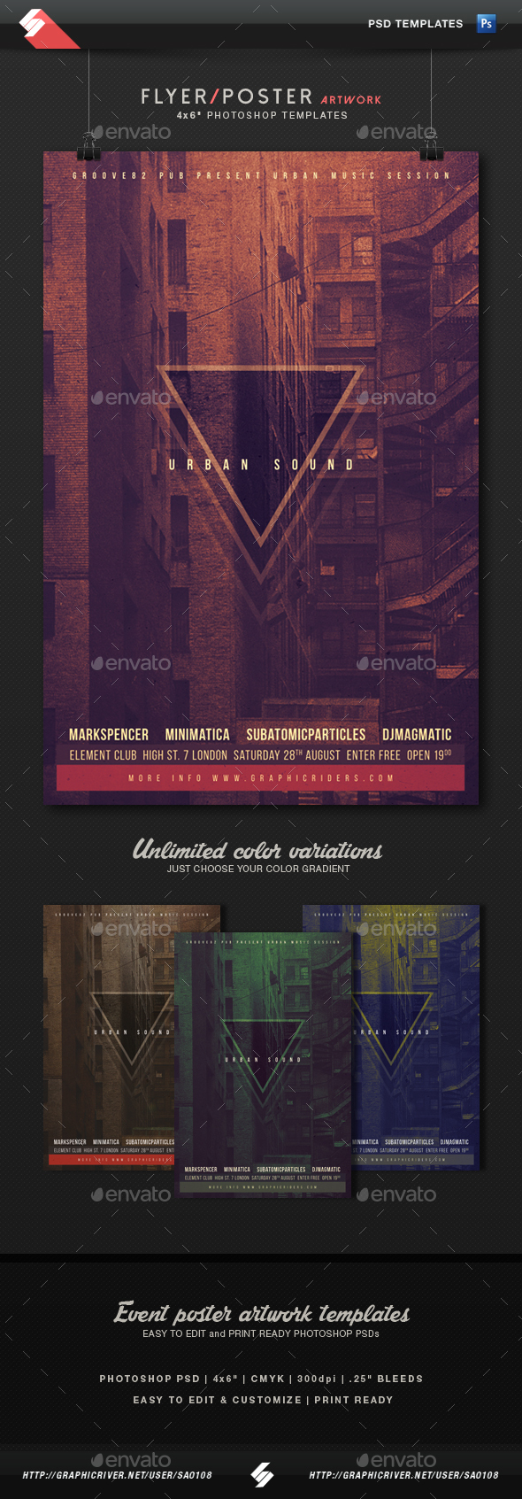 Urban Sound - Party Flyer Artwork Template - Clubs & Parties Events