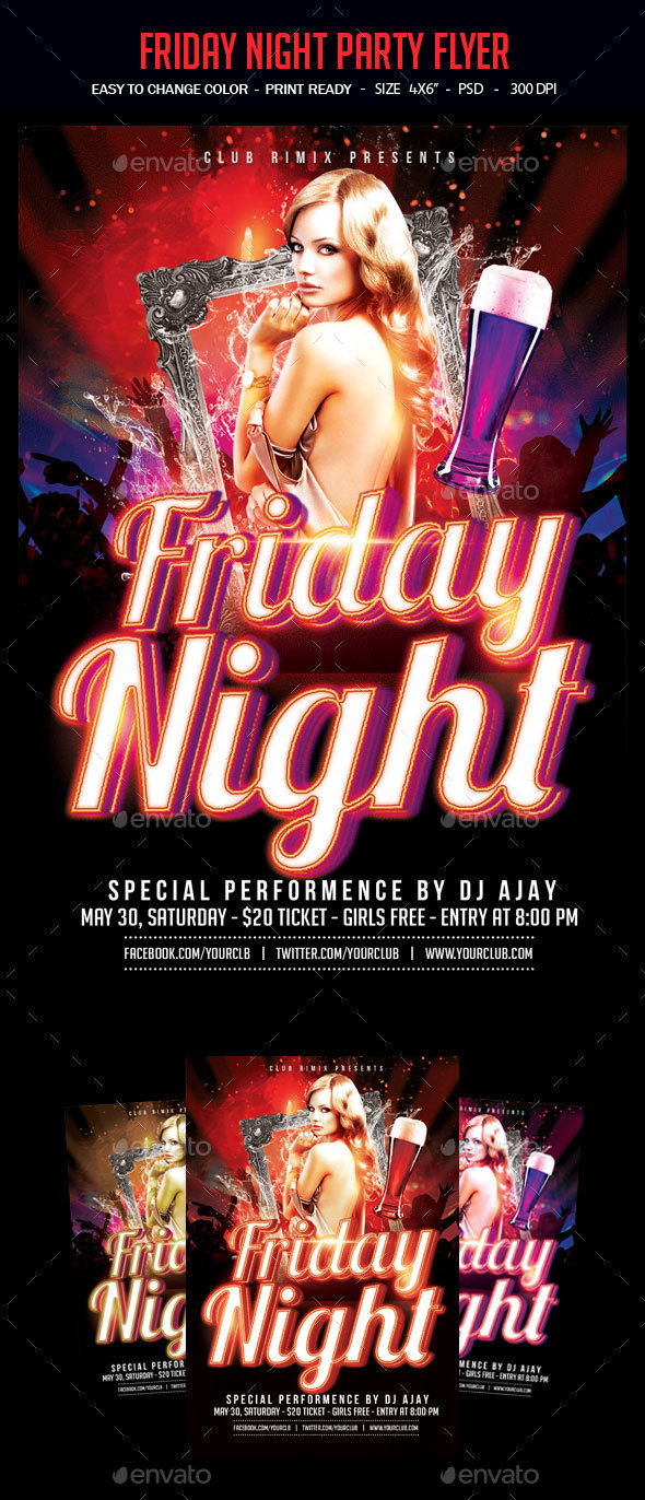 Friday Night Party Flyer - Clubs & Parties Events