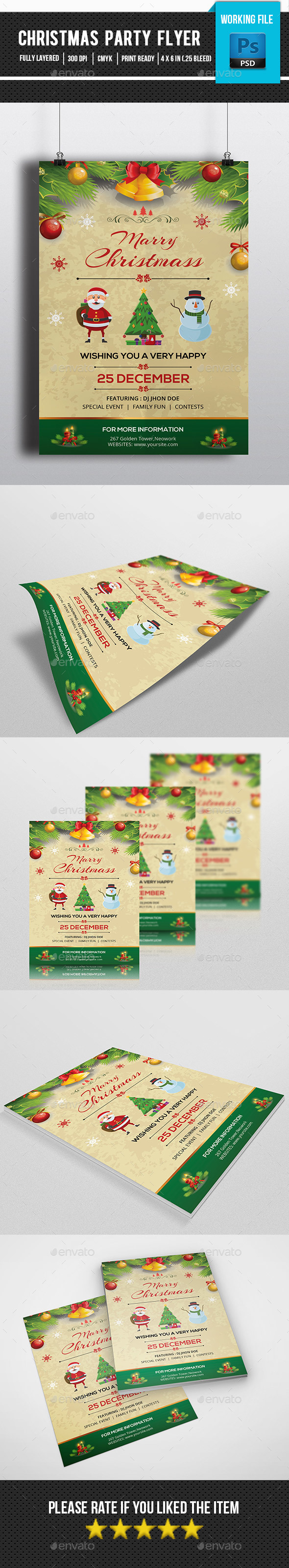 Retro Christmas Party Flyer-V123 - Clubs & Parties Events
