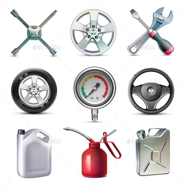 Car Service Tools Icon Set - Objects Vectors