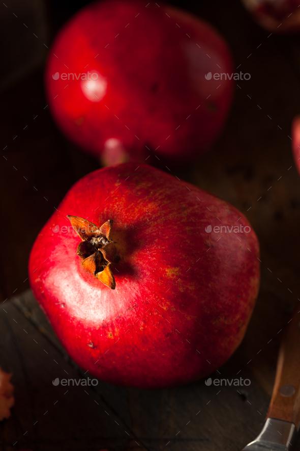 Raw Organic Red Pomegranates - Stock Photo - Images