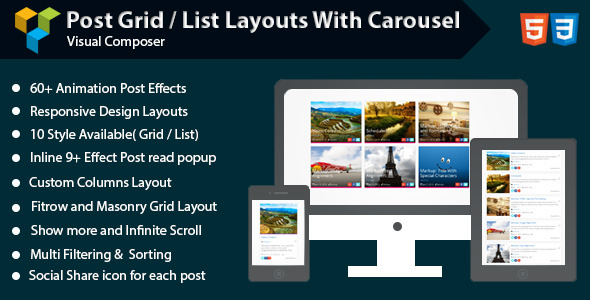 Visual Composer - Post Grid/List Layout With Carousel - CodeCanyon Item for Sale