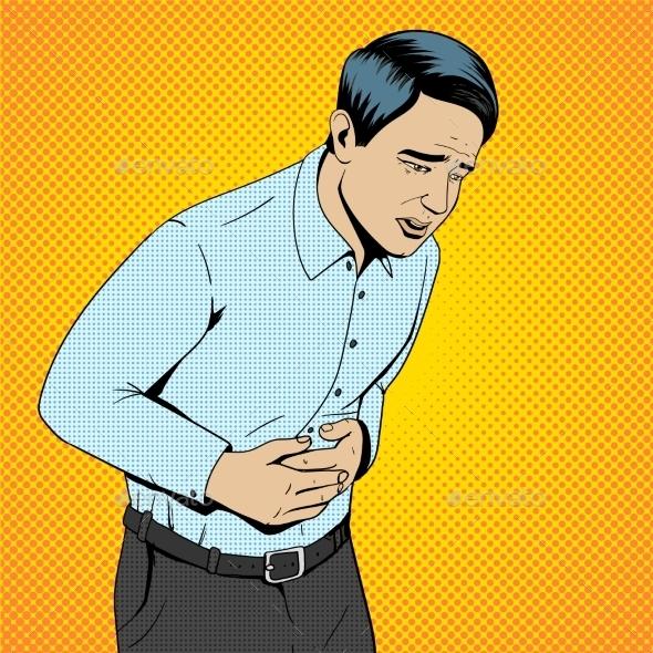 Man Suffering Stomach Pain Pop Art Retro Vector - Backgrounds Decorative