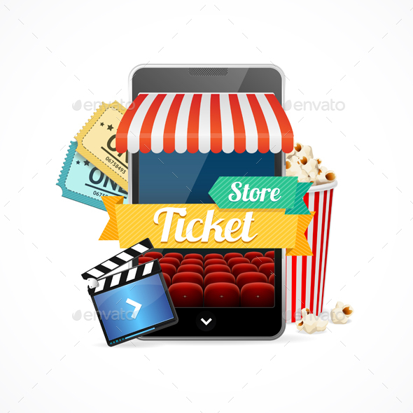 On-line Cinema Concept. Vector - Conceptual Vectors