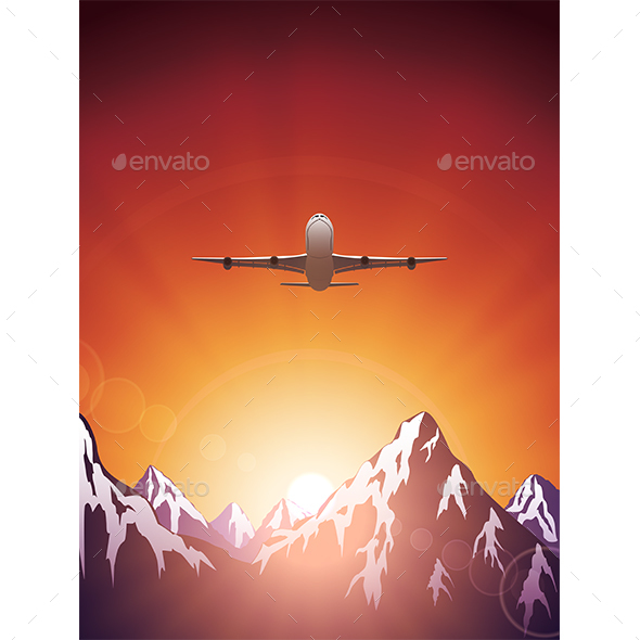 Flying Plane Over the Mountains - Travel Conceptual
