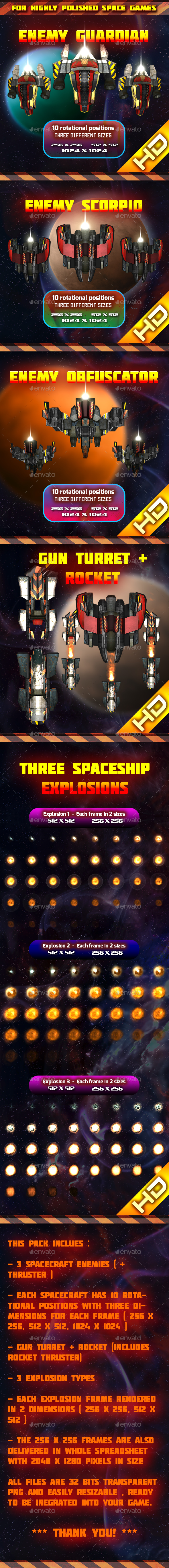Spaceship Enemy Sprites Pack 003 - Sprites Game Assets