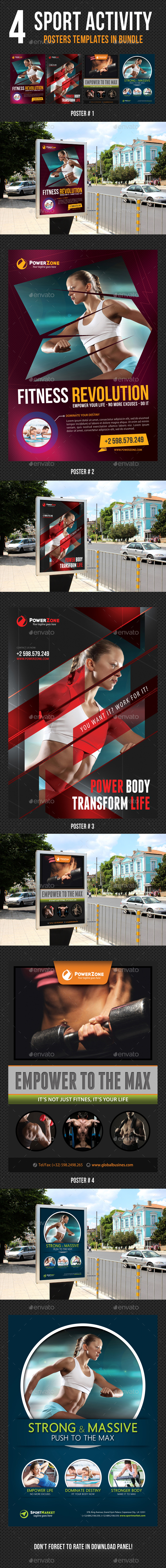 4 in 1 Sport Activity Poster Bundle V01 - Signage Print Templates