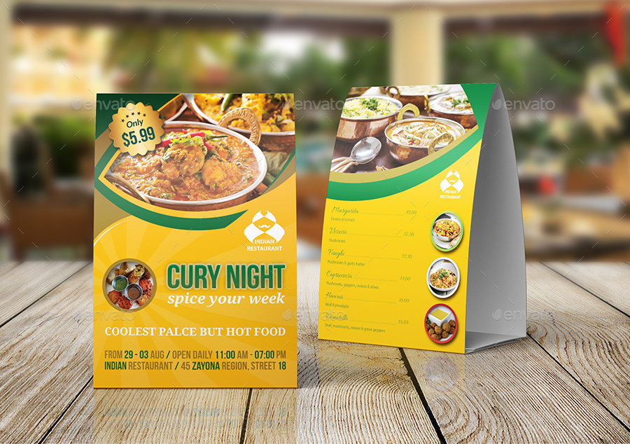 Indian Restaurant Advertising Bundle Template By OWPictures - Restaurant table advertising