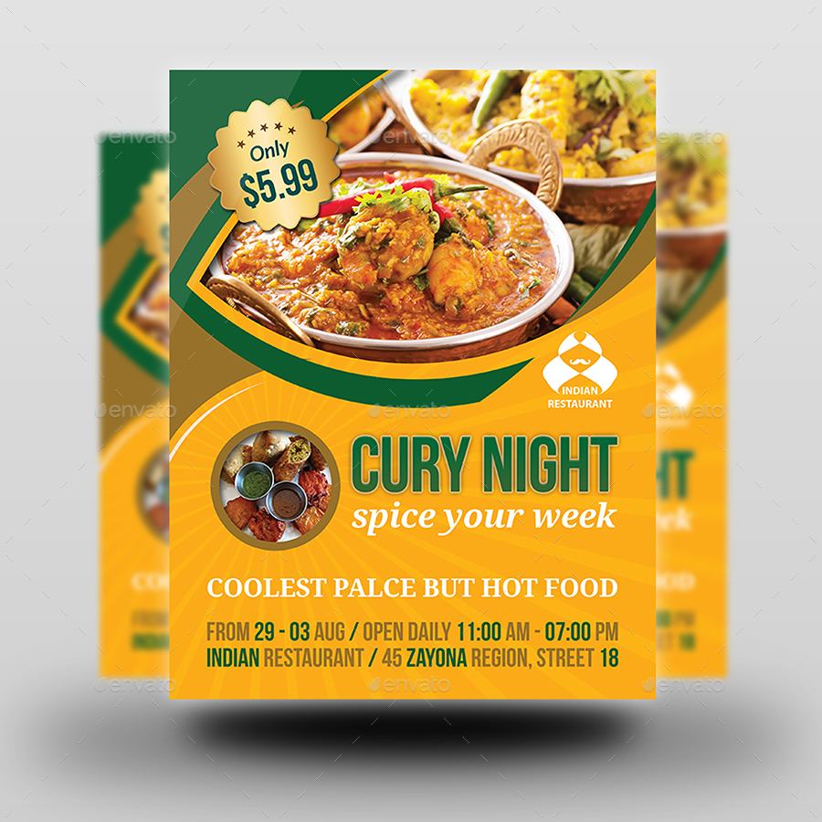 Indian restaurant advertising bundle template by