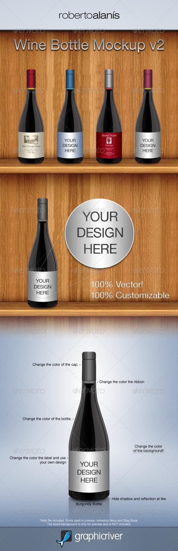 Wine Bottle Mockup V2 - Food and Drink Packaging