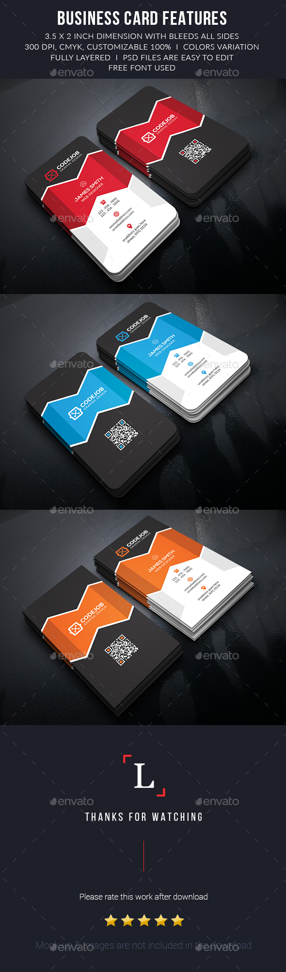 Rise Modern Business Cards - Business Cards Print Templates