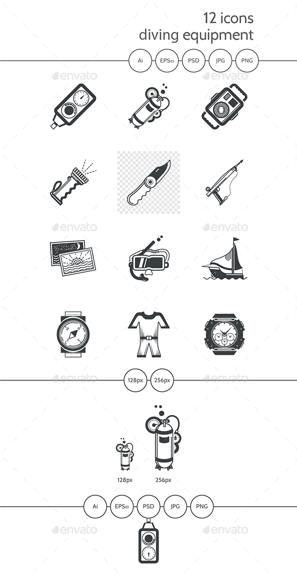 Diving Black Icons - Objects Icons
