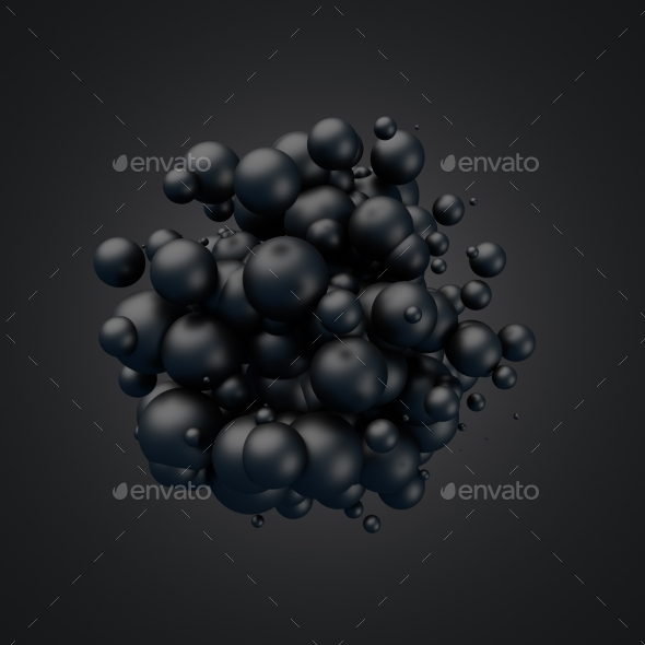 Abstract 3D Rendering Of Flying Spheres. - Abstract 3D Renders