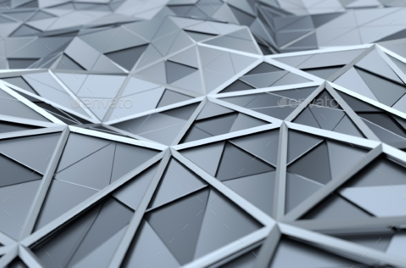 Abstract 3D Rendering Of Low Poly Chrome Surface. - 3D Backgrounds