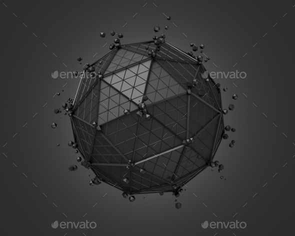 Polygonal Black Sphere With Wireframe. - Tech / Futuristic Backgrounds