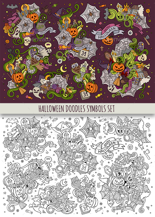 Halloween Doodles Symbols Set - Halloween Seasons/Holidays