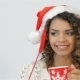 Santa Girl Hold Coffee Cup - VideoHive Item for Sale