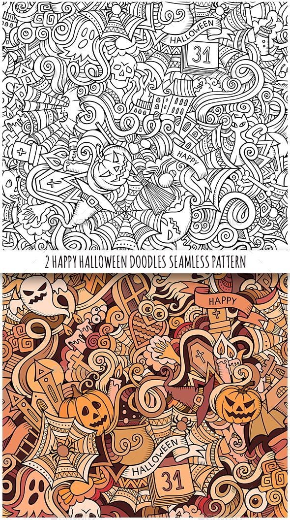 2 Halloween Doodles Seamless Patterns - Halloween Seasons/Holidays