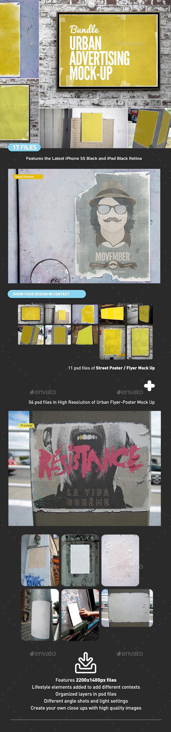Urban Advertising Flyer Poster Mock-Up Bundle - Print Product Mock-Ups