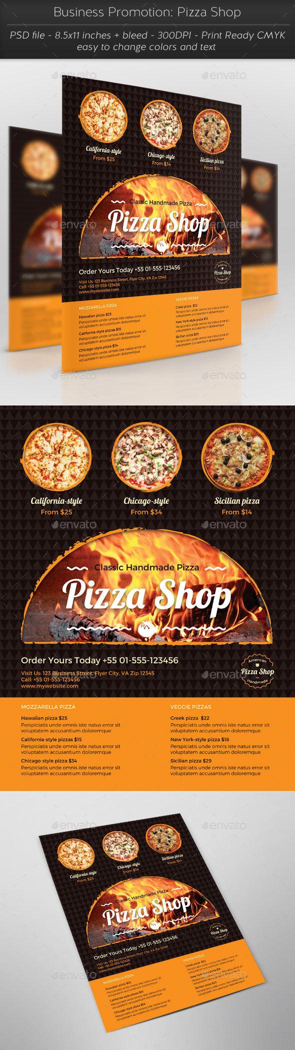 Business Promotion: Pizza Shop - Flyers Print Templates