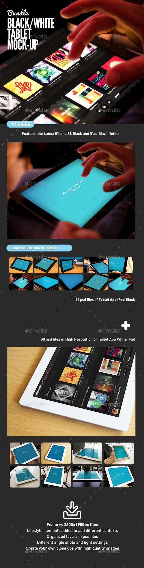 Black and White Pad Tablet MockUp Bundle - Mobile Displays