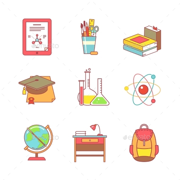 Education Learning And School Thin Line Icons Set - Objects Icons