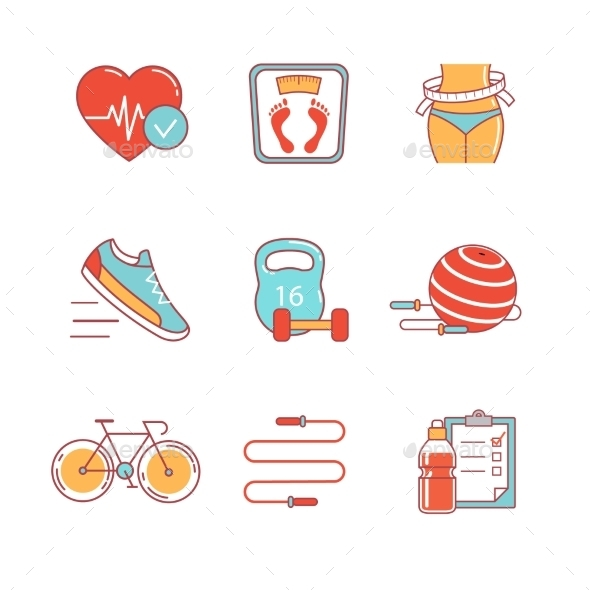 Fitness And Healthy Lifestyle Thin Line Icons Set - Icons
