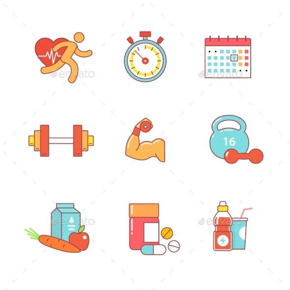 Bodybuilder, Health, Fitness Thin Line Icons Set - Objects Icons
