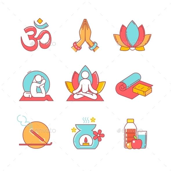 Yoga Thin Line Icons Set - Icons