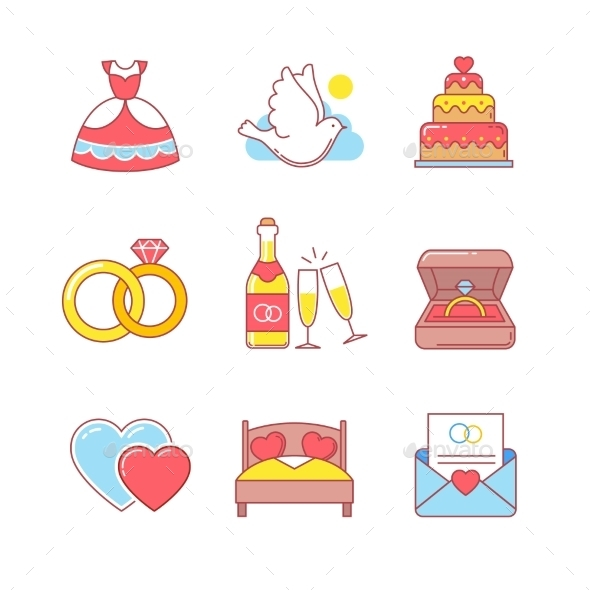 Wedding And Marriage Thin Line Icons Set - Icons