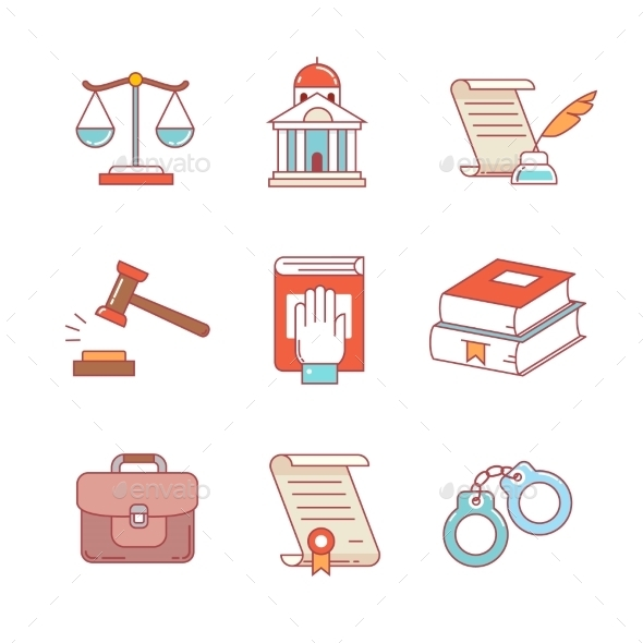 Legal, Law, Lawyer And Court Thin Line Icons Set - Icons