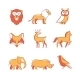 Popular Wild Life Animals Thin Line Icons Set - GraphicRiver Item for Sale