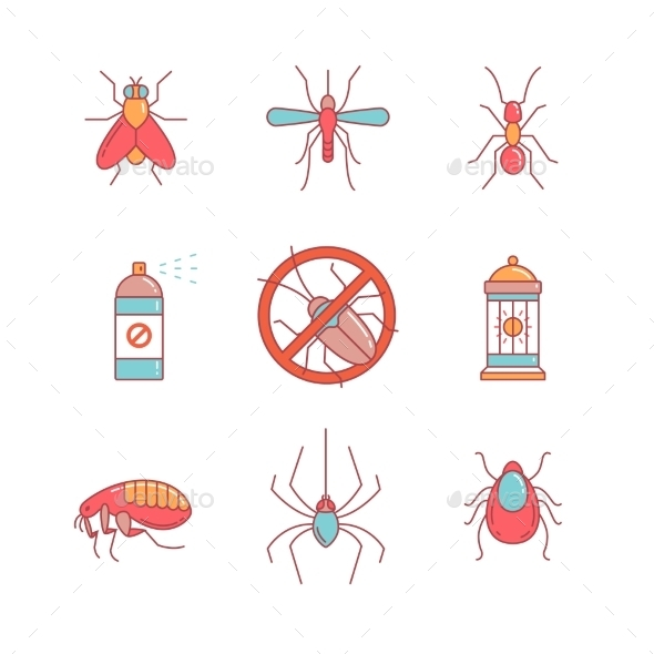 Insects Control, Anti Pest Emblem, Insecticide - Animals Characters